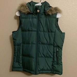 Women's Maurices Large Green Zip Up Vest w/Hood